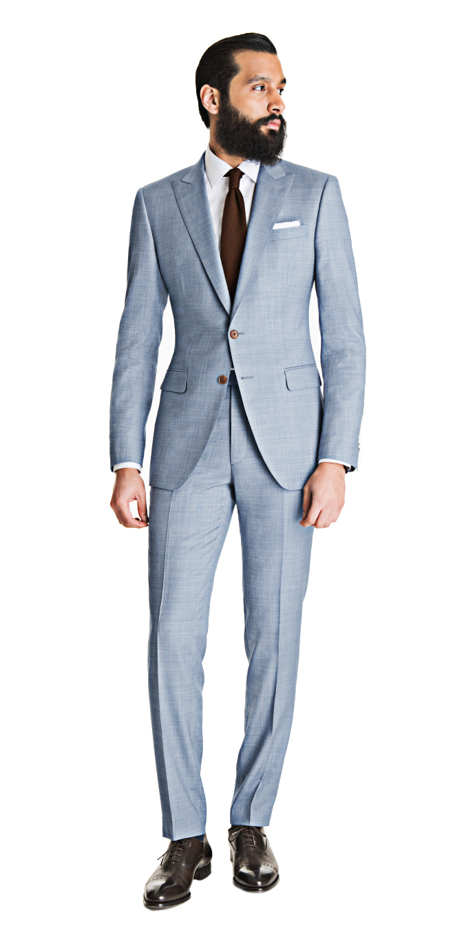 Light Blue Gray Sharkskin Suit  Looking for the perfect combination of blue and gray suit? This gray sharkskin suit incorporates just enough blue to make you look like you've got ice in your veins. In a word: cool. - ©Black Lapel