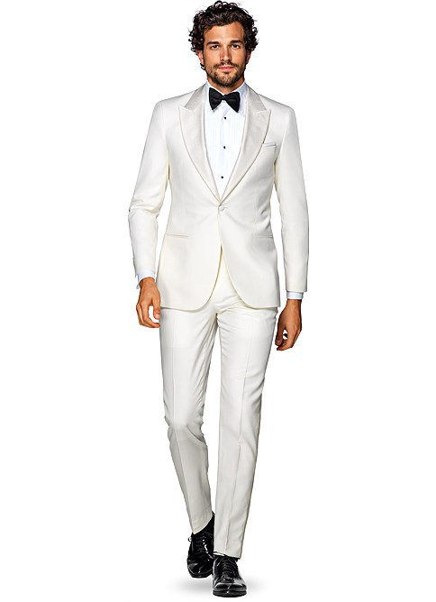 Off White Plain Verona Tuxedo   Stand out in stylish elegance at your next upscale event in this vivid off-white Verona tuxedo. Tailored to a slim fit from pure S120's wool by E.Thomas, it's constructed with a half canvas, and comes accompanied by silk-trimmed flat front trousers - © Suitsupply