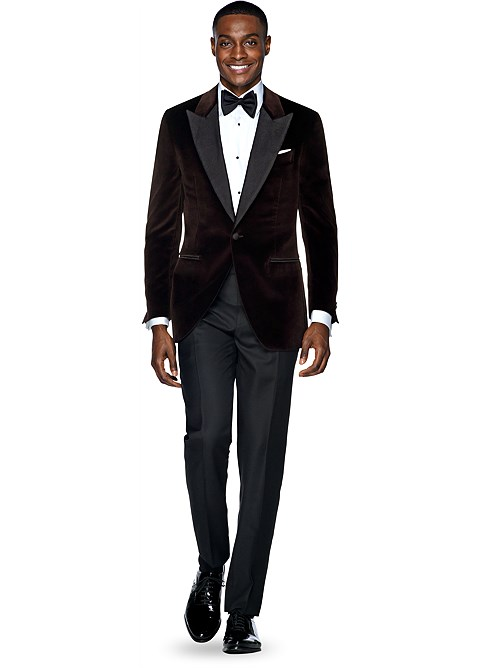 Brown Plain Dinner Jacket  Bring upscale style and elegance to any refined occasion with this brown Verona jacket. Tailored slim from pure Redaelli cotton, it features half-canvas construction and a softly textured velvet finish. - © Suitsupply