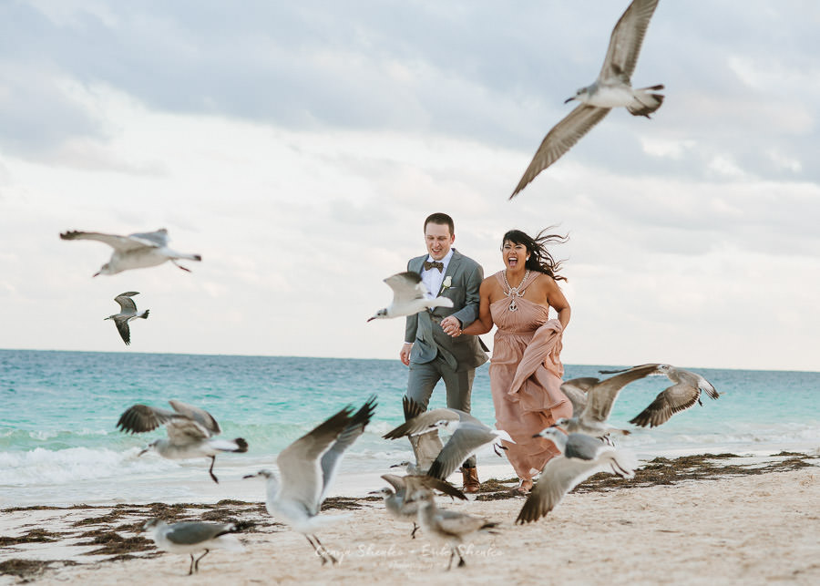 The lovely energy in this photo from Marie + Marlon's Mexican Destination Wedding Album was captured by  Shenko Photography