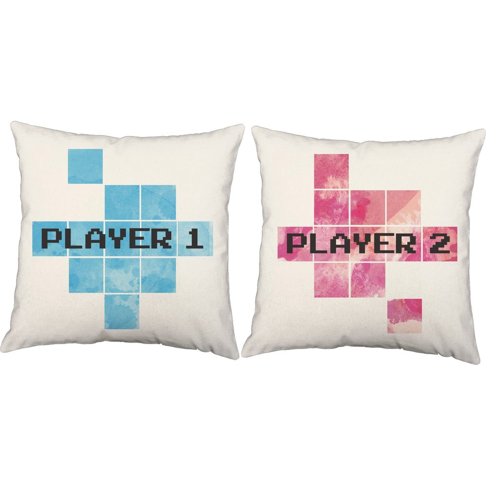 These super-cute Player1 & Player2 Pillows can be found on RoomCraft's site  here.