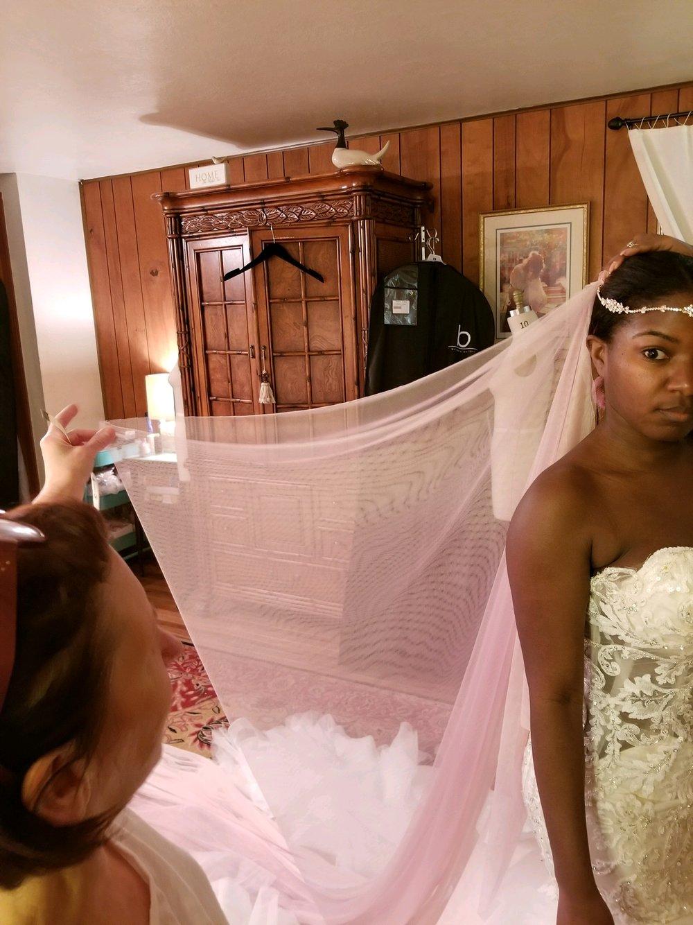 Black Destination Bride - BlackDesti Wedding Journal - Bridefriends Podcast -14 Headpiece 2 veils fabric drews fitting3.JPG