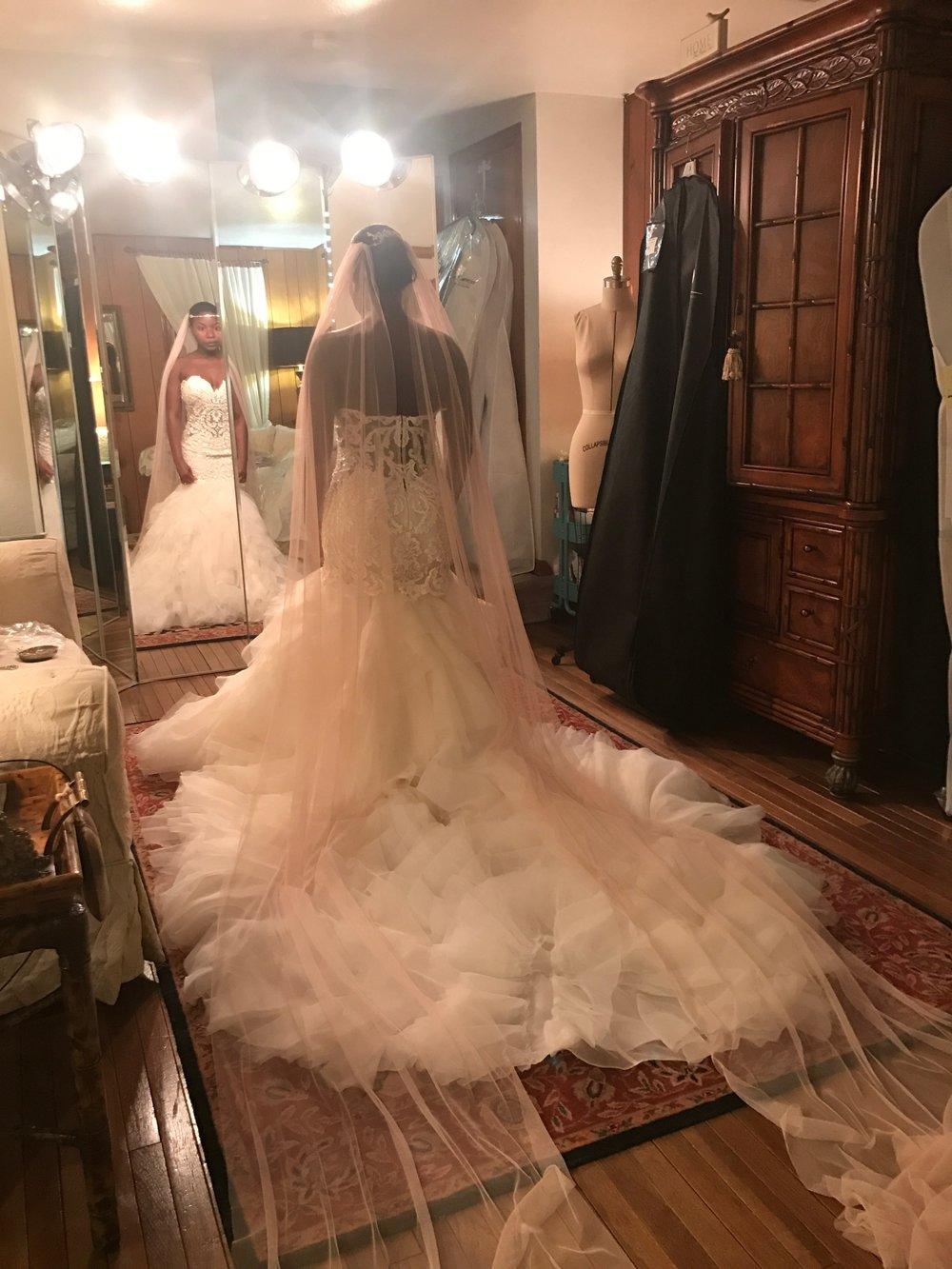 Black Destination Bride - BlackDesti Wedding Journal - Bridefriends Podcast -10 - dress fitting1 - 2 veils.JPG
