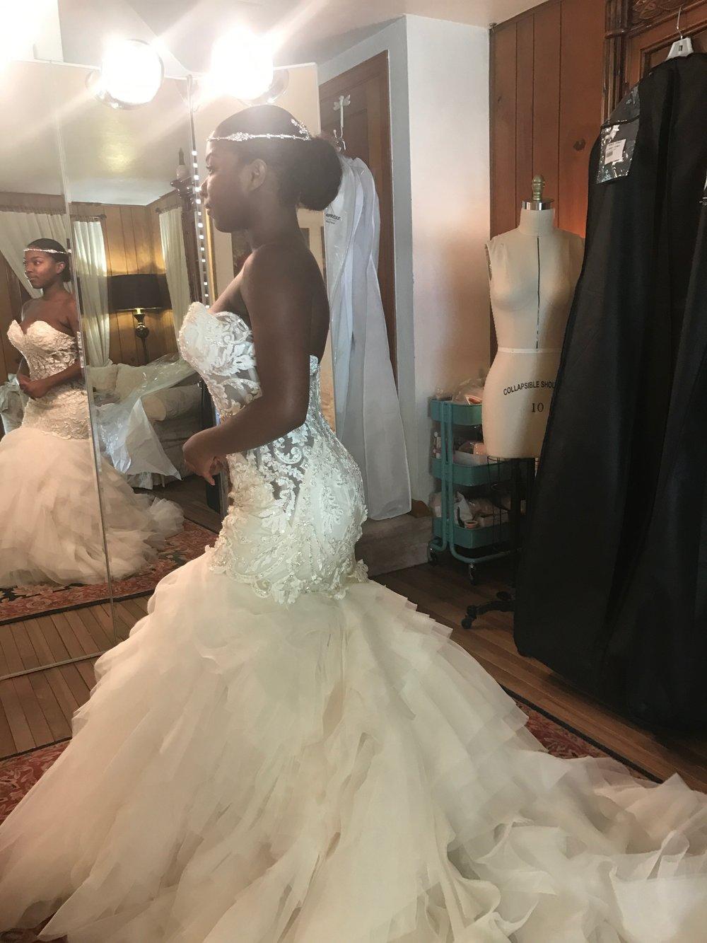 Black Destination Bride - BlackDesti Wedding Journal - Bridefriends Podcast -10 - dress fitting4 - 2 veils.JPG