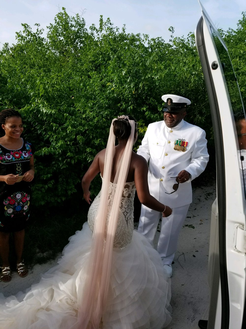 Black Destination Bride - BlackDesti Wedding Countdown Journal - Bridefriends Podcast - 0 Playa del Carmen Mexico - Blue Venado - Shenko Photography - Dad Navy Chief Uniform.JPG