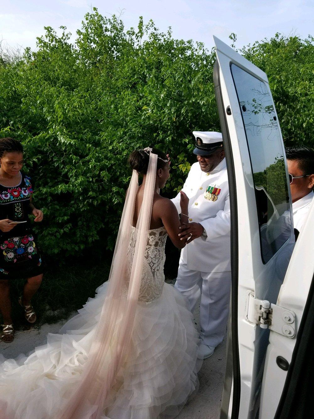 Black Destination Bride - BlackDesti Wedding Countdown Journal - Bridefriends Podcast - 0 Playa del Carmen Mexico - Blue Venado - Shenko Photography - Dad Navy Chief Uniform2.JPG