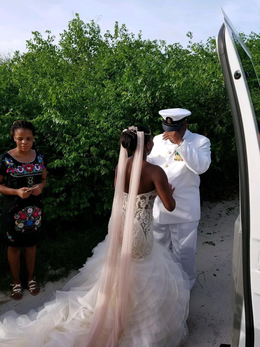 Black Destination Bride - BlackDesti Wedding Countdown Journal - Bridefriends Podcast - 0 Playa del Carmen Mexico - Blue Venado - Shenko Photography - Dad Navy Chief Uniform3.JPG