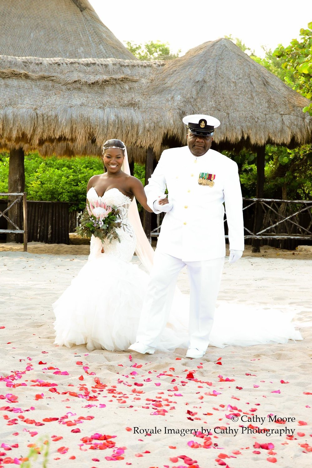 Black Destination Bride - BlackDesti Wedding Countdown Journal - Bridefriends Podcast - 0 Playa del Carmen Mexico - Blue Venado - Shenko Photography - Eve of Milady 1560 - Dad Navy Chief Uniform2.JPG