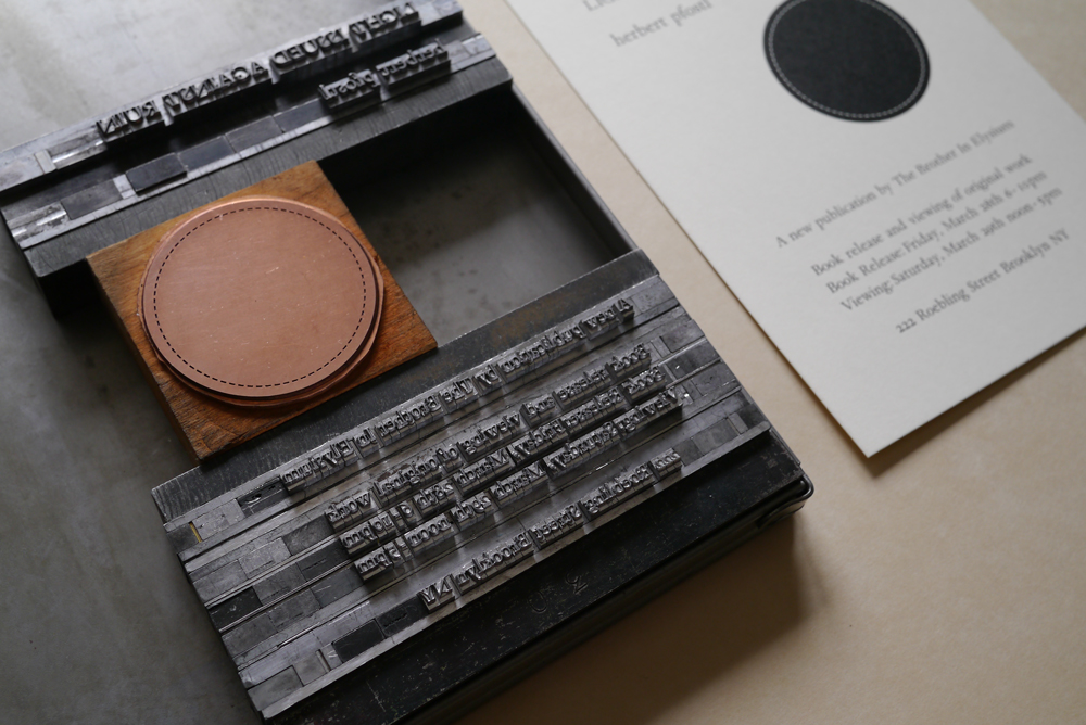 Type form and announcement card for  Light Issued Against Ruin  publication.