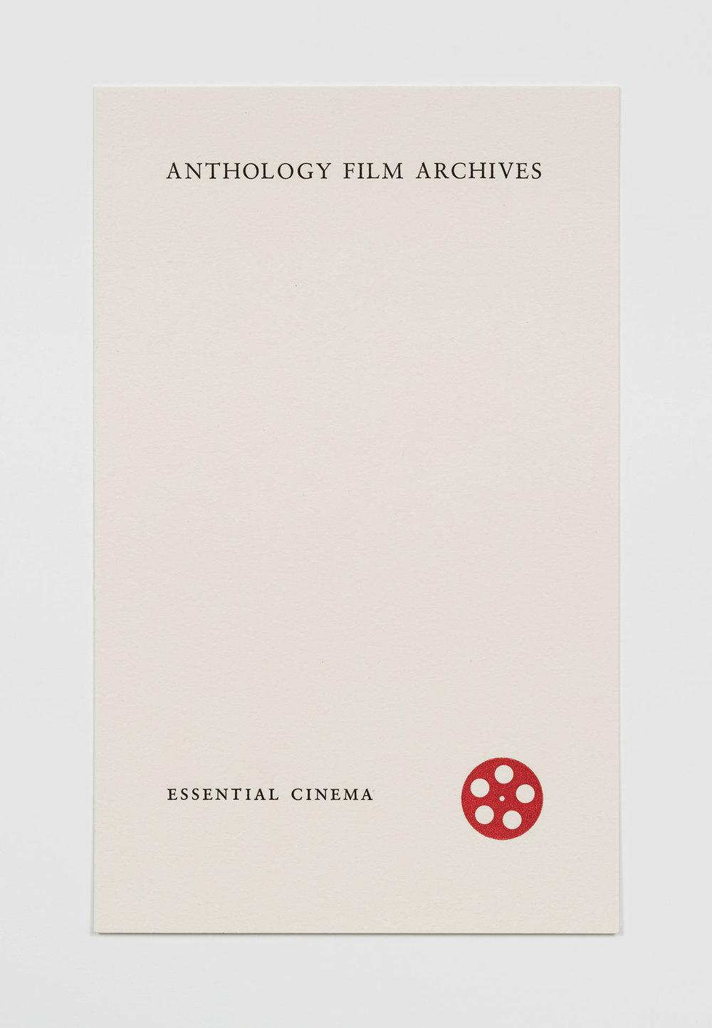 Card for Anthology Film Archives.