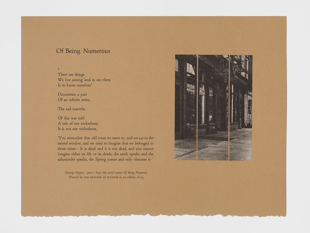 George Oppen, 'Of Being Numerous,' letterpress broadside with collage by The Brother In Elysium.
