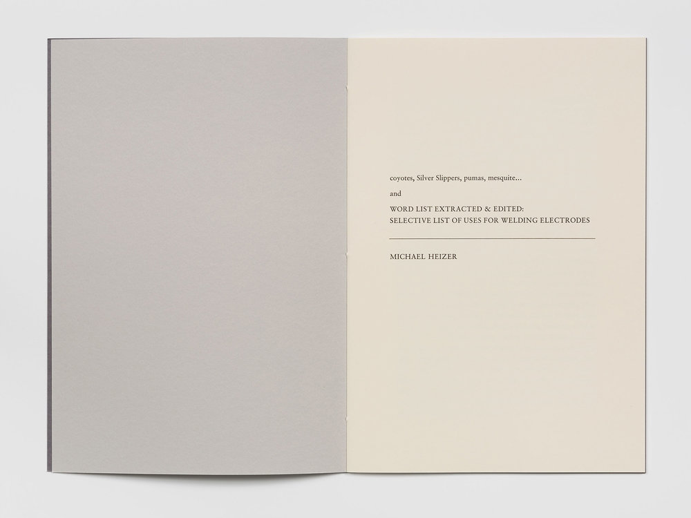 Michael Heizer pamphlet, private press commission.
