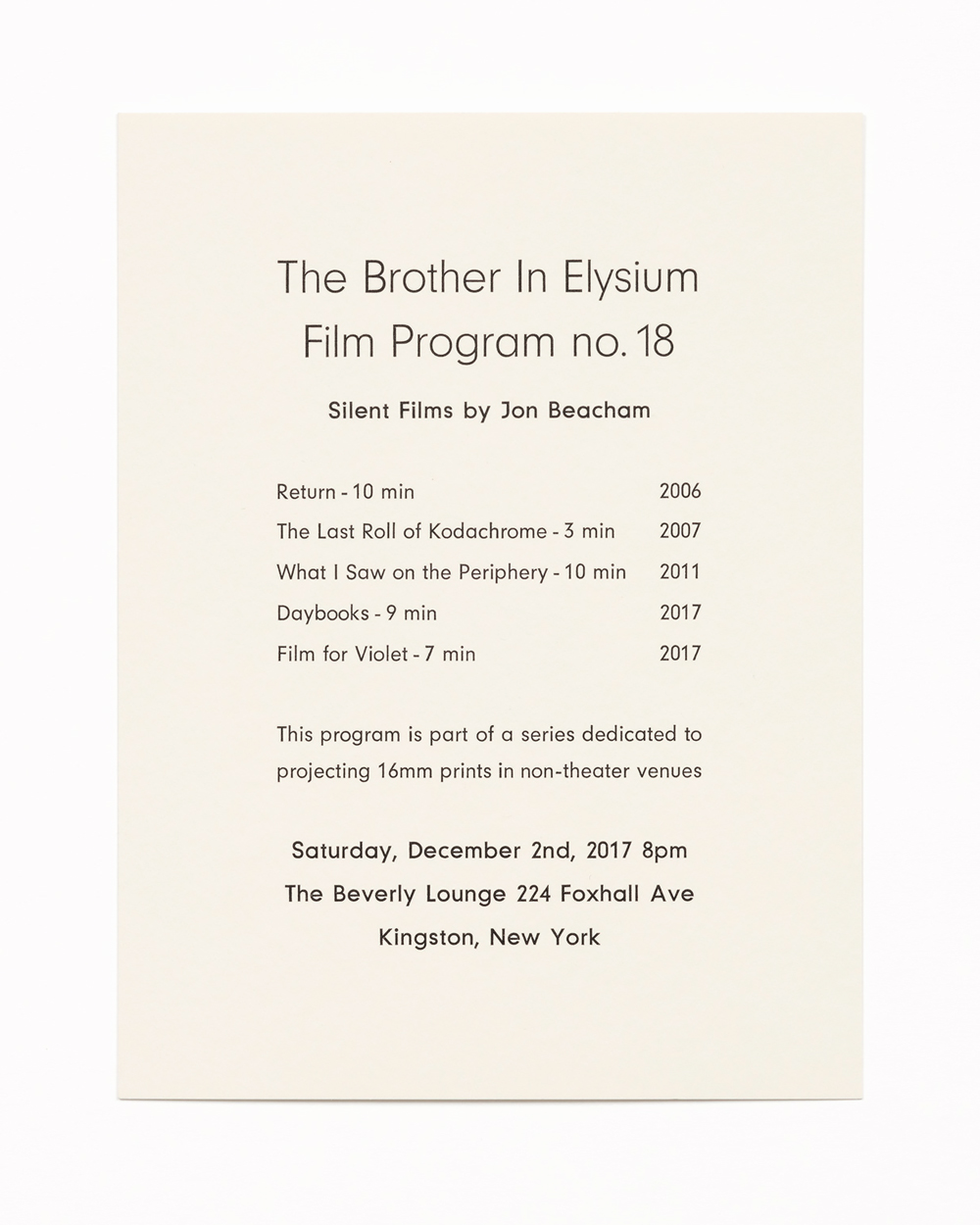 The Brother In Elysium Film Program no. 18, Silent Films by Jon Beacham