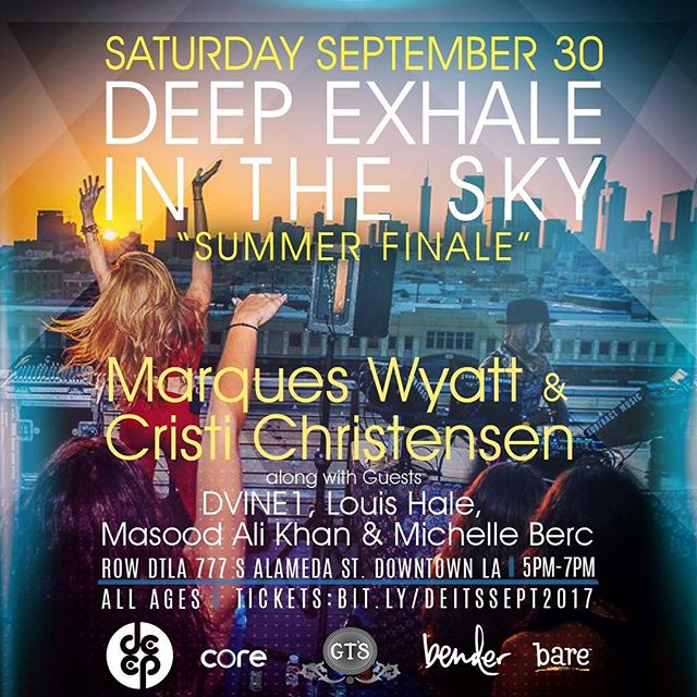 SATURDAY SEPTEMBER 30 ---  Don't miss out on the last @deepexhale in the Sky event of the Summer! Join @marqueswyatt, @cristi_christensen & friends on the beautiful rooftop at @rowdtla for a very special sunset session from 5-7pm! ALL AGES WELCOME! We are expecting to sell out, so be sure to grab your tickets before they're gone (link in bio)! 🌞🙌🏻 #DEEPExhale #DEEPExhaleintheSky #DEEP #LosAngeles #Bender #Rooftop #Sunset #Yoga #Dance #RowDTLA #Tribal #HouseMusic #DJ #MarquesWyatt #CristiChristensen #Balance #Meditate #Love #BurningMan #Community #WeAreDEEP #DEEP4Life #AllThingsDEEP