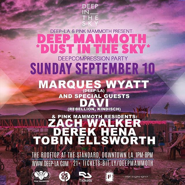 "ROLL CALL! 🙋🏼🙋🏾‍♂️🙋🏽🙋🏻‍♂️ Who is coming to DEEPcompress with us TOMORROW?! We teamed up with @pinkmammothsf and we created the DEEP Mammoth ""Dust in the Sky"" DEEPcompression Party featuring DEEP's own @marqueswyatt and special guests @davi_official and @pinkmammothsf residents: @djzachwalker, @derekhena & @tobinellsworth! It's all going down from 1-7pm on @therooftop at @thestandard in DTLA! PRESALE TICKETS ARE SOLD OUT FOR THIS EVENT. We will have a very limited amount of tickets available at the door, so if you are trying to purchase one of these, we recommend arriving early (before 1pm). Another option is to purchase a hotel room, which will include 2 complementary tickets to our party. See you on the rooftop! (Click the link in our bio for set times & more info!) 💗 #DEEP #LosAngeles #PinkMammoth #DEEPMammoth #DustInTheSky #BurningMan #DEEPcompression #Party #HouseMusic #DJ #MarquesWyatt #DEEPLA #Davi #ZachWalker #DerekHena #TobinEllsworth #TheRooftop #TheStandard #DTLA #WeAreDEEP #DEEP4Life #AllThingsDEEP #WhereHouseLives"