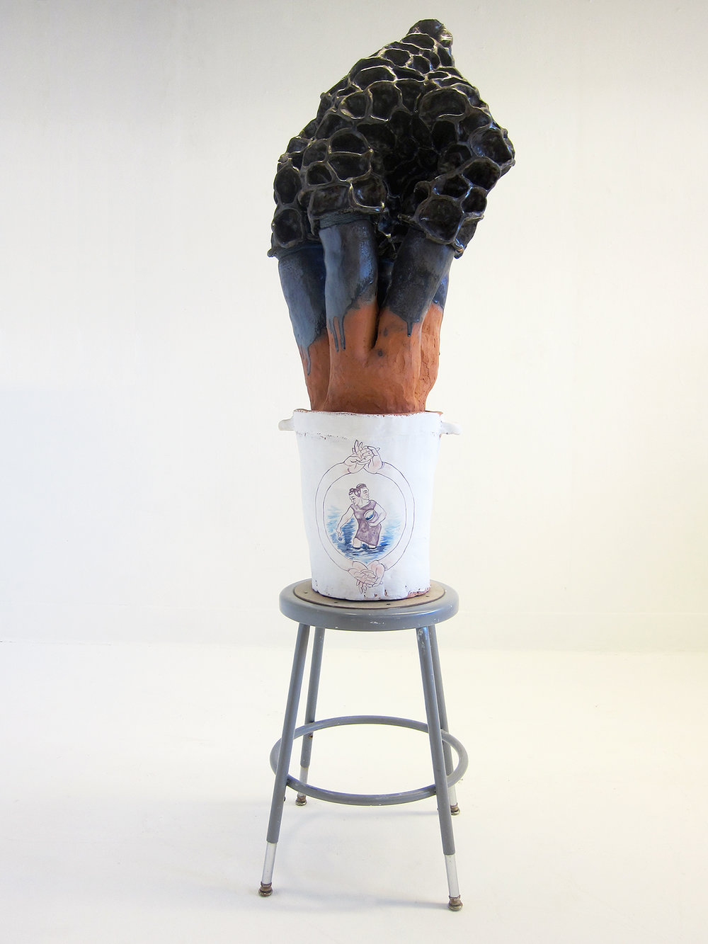 Morel Figure with Crock