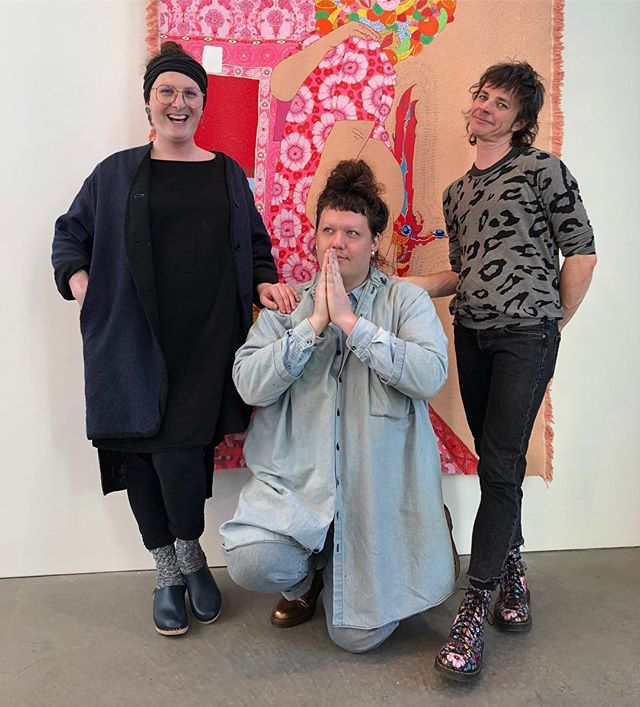 Looking through cute pix from the Transecologies opening last week, grateful to have put together this show with these brilliant babes! Show is up through March 22! 📷Jaime Austin  #craigcalderwood #jordanreznick #nickigreen #transecologies