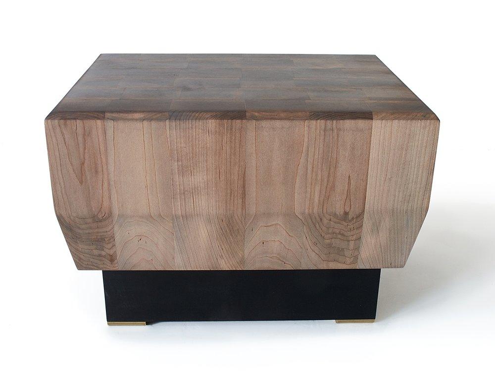 "Oxidized Maple 20""L x 16""W x 15""H ebonized maple base with natural brass feet"