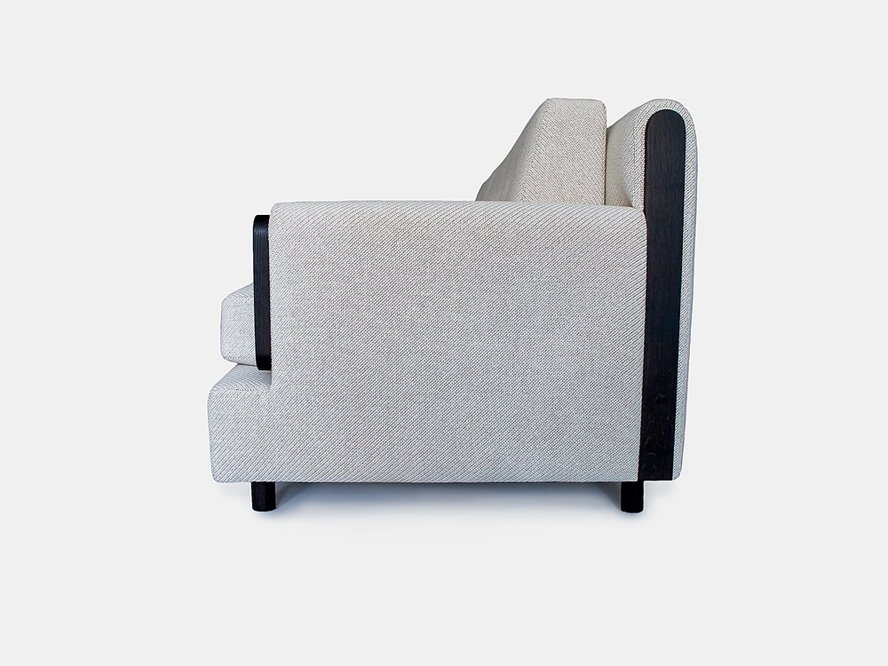 "96""L x 38""D x 34""H Oxidized Oak arms, back & legs Fabric: Kvadrat Coda 103"