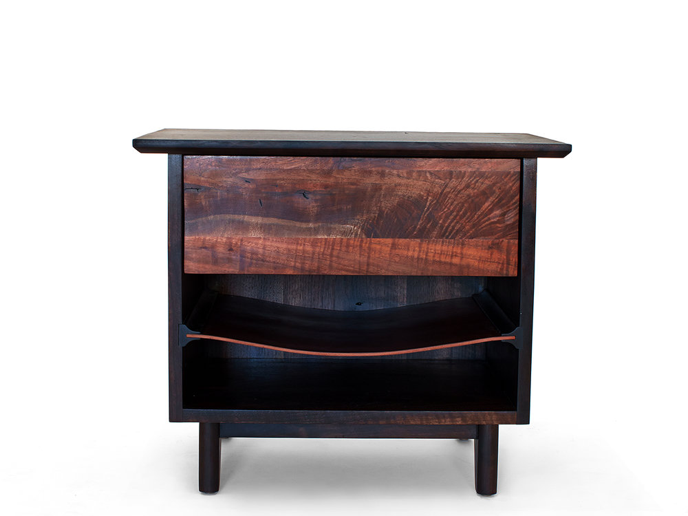 "26""L x 18""D x 24""H Ebonized Black Walnut cabinet & base, Claro Walnut drawer front, Oxblood saddle leather shelf"