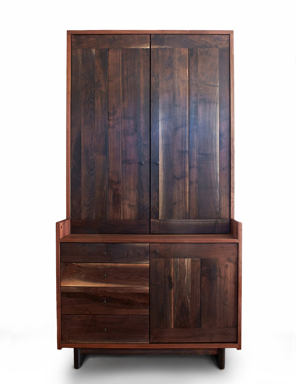 "Black Walnut case & Oxidized Walnut fronts   92""H x 48""W x 30""D   Blackened brass pulls"