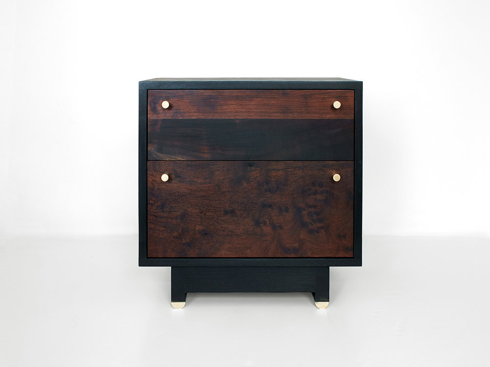 Ebonized Ash cabinet & base, Oxidized Walnut fronts Natural brass hardware