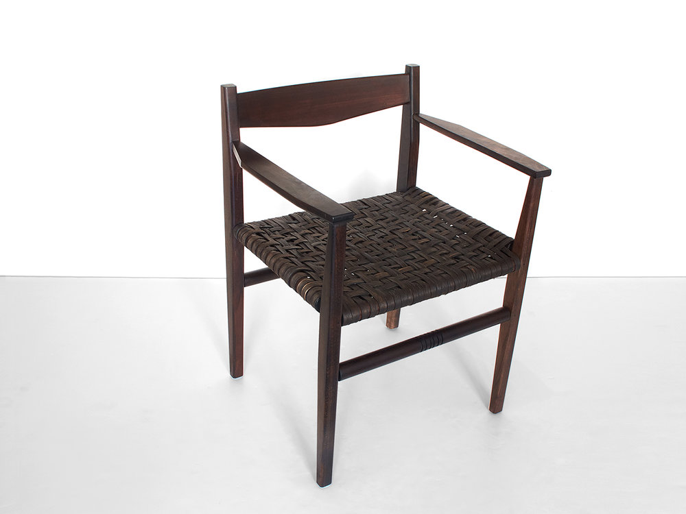 Oxidized black walnut, woven oxidized hickory bark seat