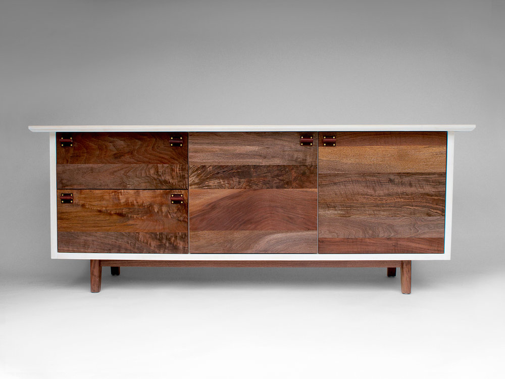 "72""L x 22""D x 28""H Bleached Maple casing, Claro Walnut front and base, oxblood saddle leather pulls"