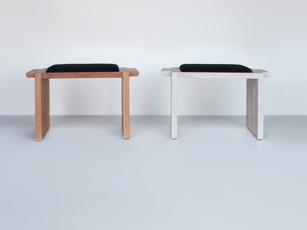 "Left to right: White Oak with Kvadrat Outback Upholstery Bleached Maple with Kvadrat Outback Upholstery 32""L x 16""W x 18""H"