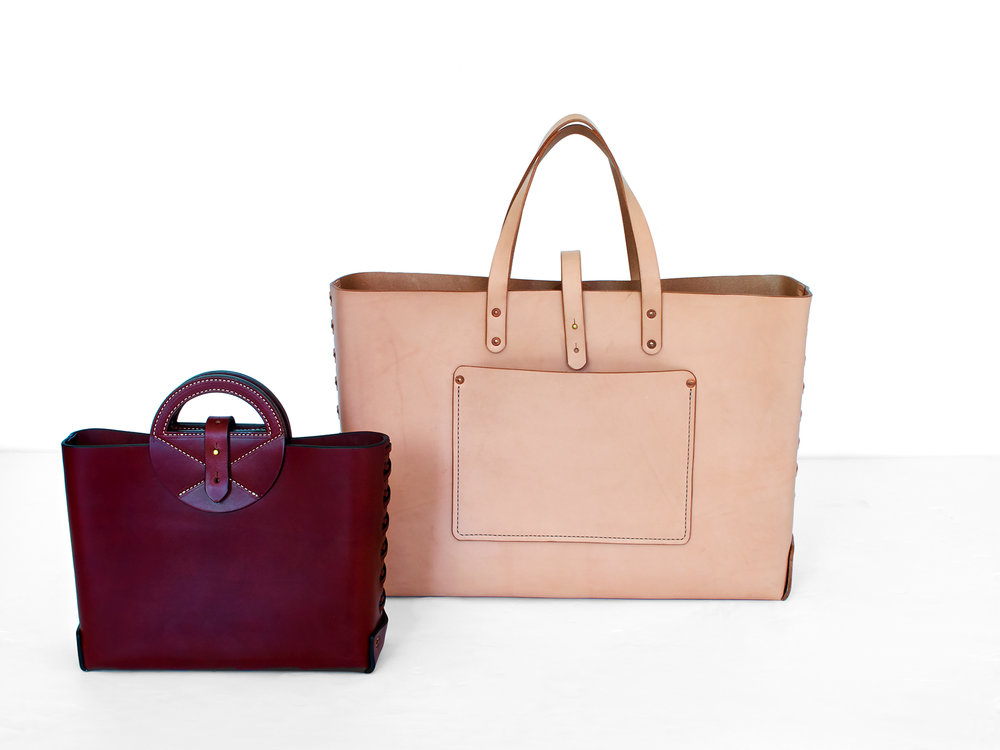 Burgundy Handbag & Natural Leather Supply Tote