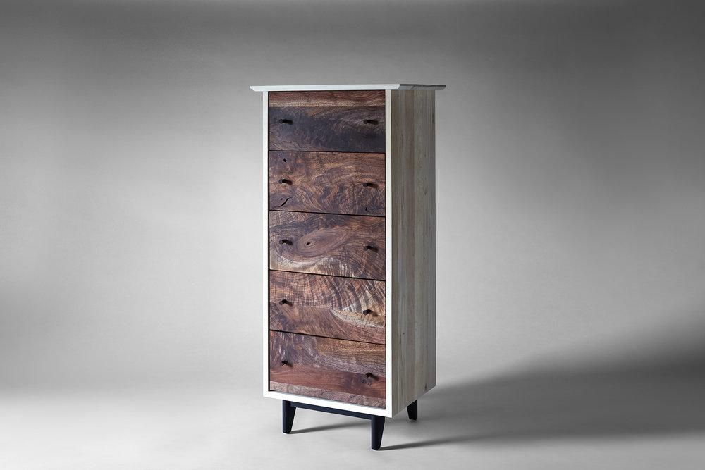"60""H x 36""W x 24""D Claro Walnut fronts, Bleached Maple Case, Ebonized Walnut base turned wood pulls"