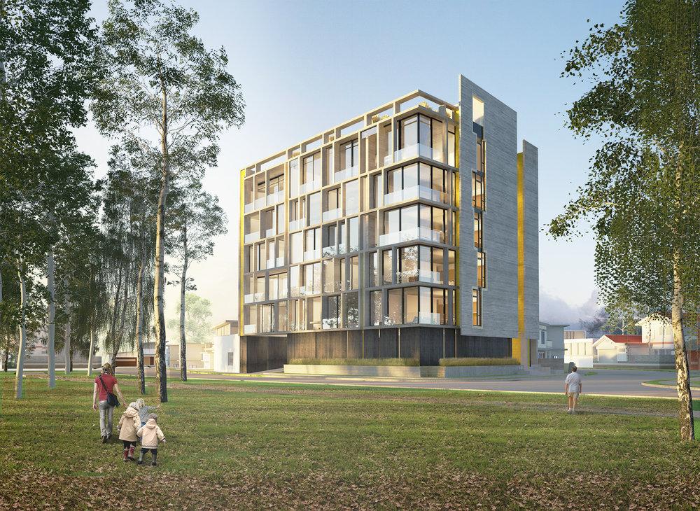 Render de edificio UNO para Jaime Rouillon Arquitectura