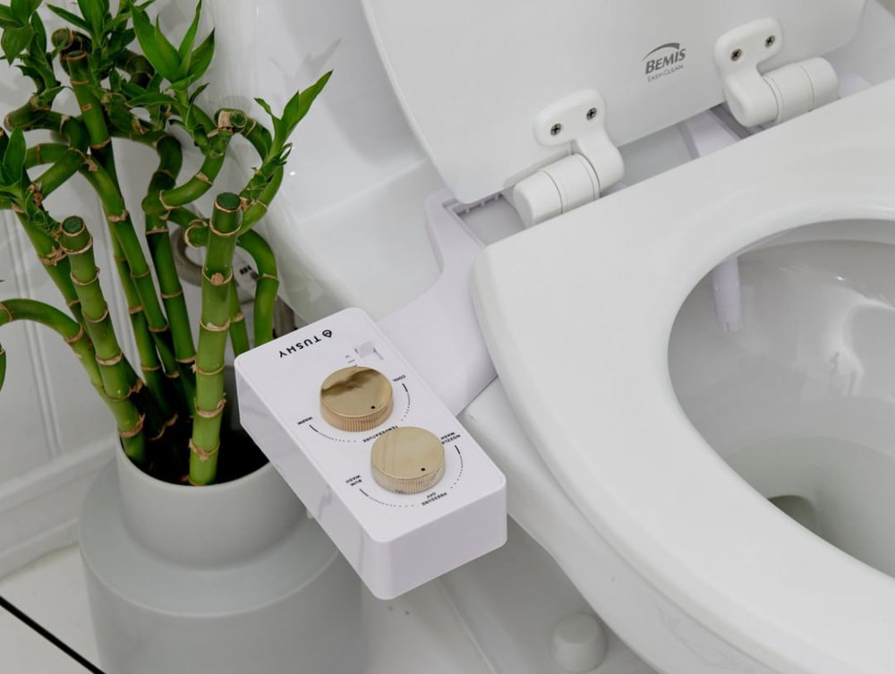 HelloTushy is a bidet attachment for your toilet. Get the spa choice that has both hot and cold. I have tried this at my cousins home and after using it, feeling how clean abs amazing my tush felt after I had to get my own! This is under 100 and color choices too. Americans aren't the cleanest bottoms with our dry toilet paper! Once you try this you will wonder how you went around before with a bottom so unclean. I want everyone to have one of these. Bonus a 7 year Old can install it. When you turn the water off a magnet sucks it back up into a protective tube. It's awesome! HelloTushy.com