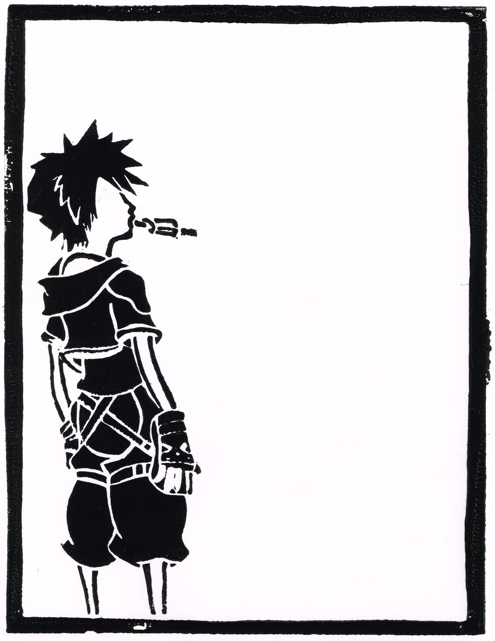 Linocut image of Sora from Kingdom Hearts for an event guide for the Australian Movie & Comic Expo (AMC)