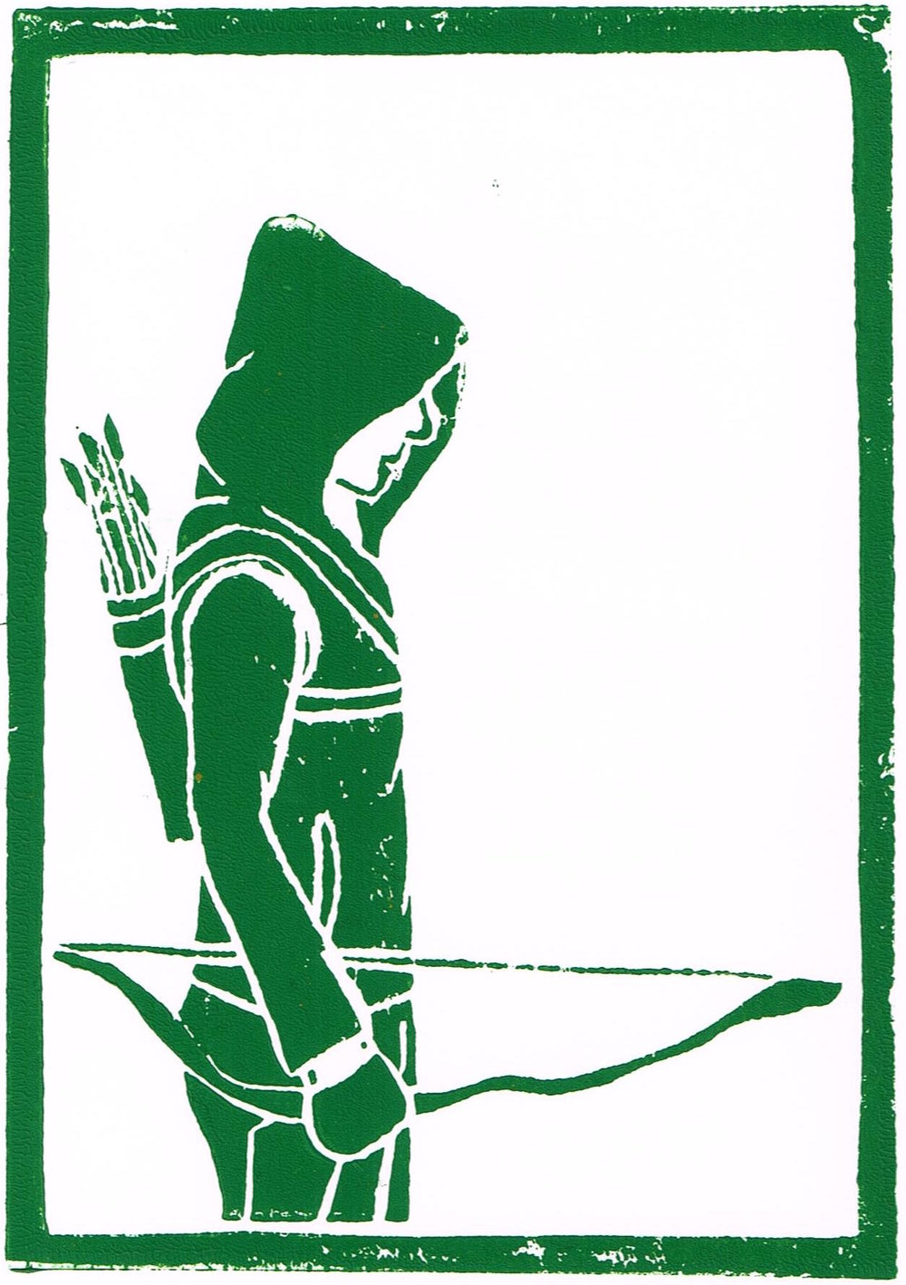 The Green Arrow in linocut print form, created as part of an event guide for AMC Expo