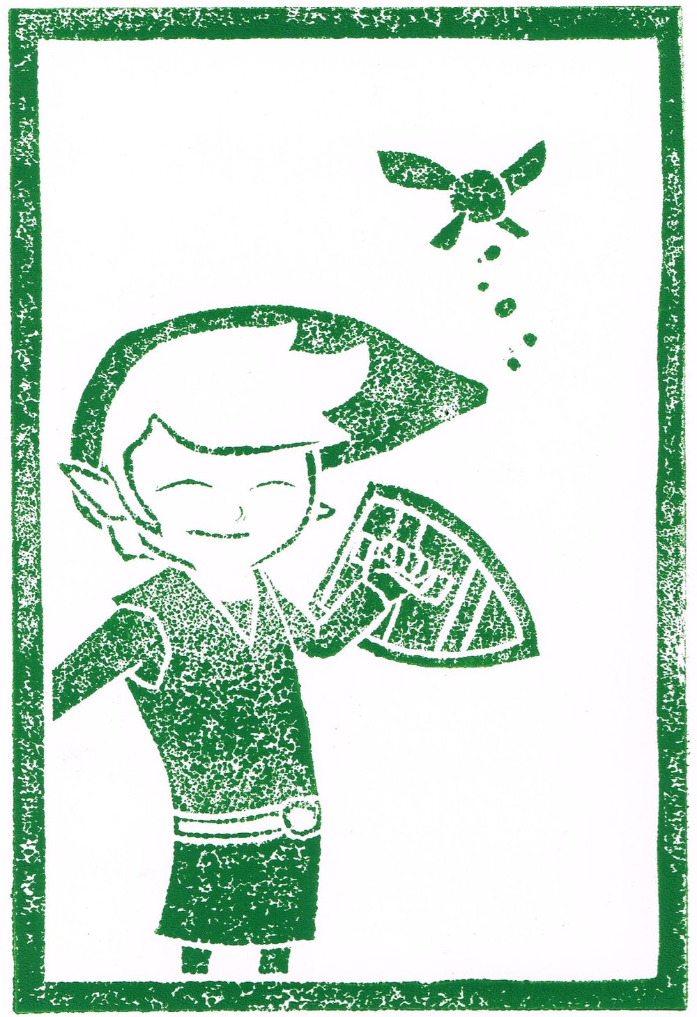 A linocut print of Link from the Legend of Zelda for an AMC Expo event guide