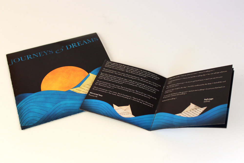 A front cover design for a vinyl and CD, as well as the interior pages of the lyric booklet