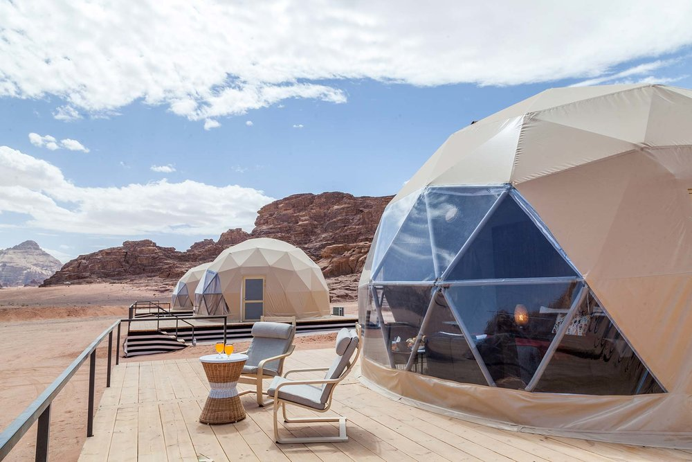 Sun City Camp - Combining modern style living and comfort while still living the authentic desert experience, the Sun City camp signature Martian Domes offer the guests the unique experience of combined luxury and authenticity. Situated in the Wadi Rum Desert, Sun City Camp is the first in the region to offer such domes that will allow you to gaze at the magnificent moon and stars from your own comfortable bed.