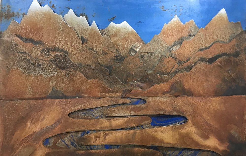 Wondering River Teton Mountains   - Mantucky Metal Art