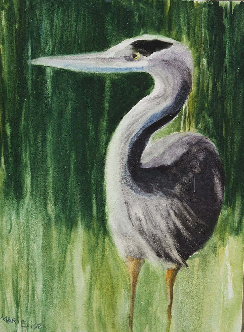 Blue Heron   - Marie Marinovich