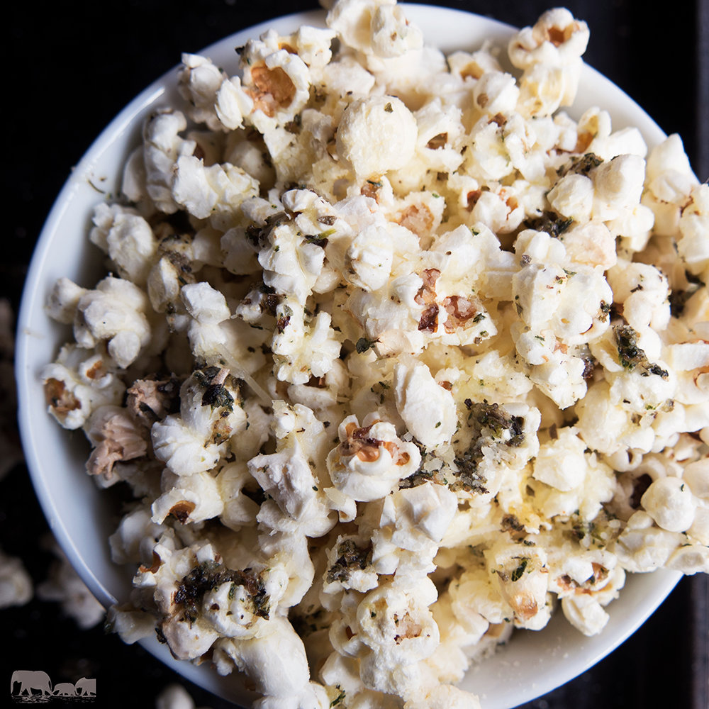 Herbed Popcorn with Garlic and Parmesan Cheese
