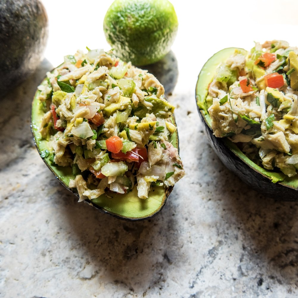 Tuna Stuffed Avocados - The perfect after school snack...