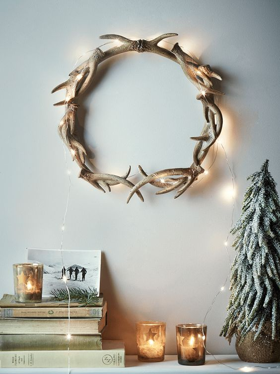 Jules and Louis Blog | festive wreaths - antlers wreath on the wall