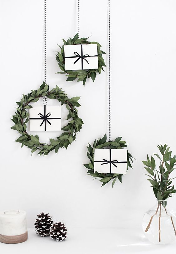 Jules and Louis Blog | festive wreaths - mini wreaths hanging with gift card