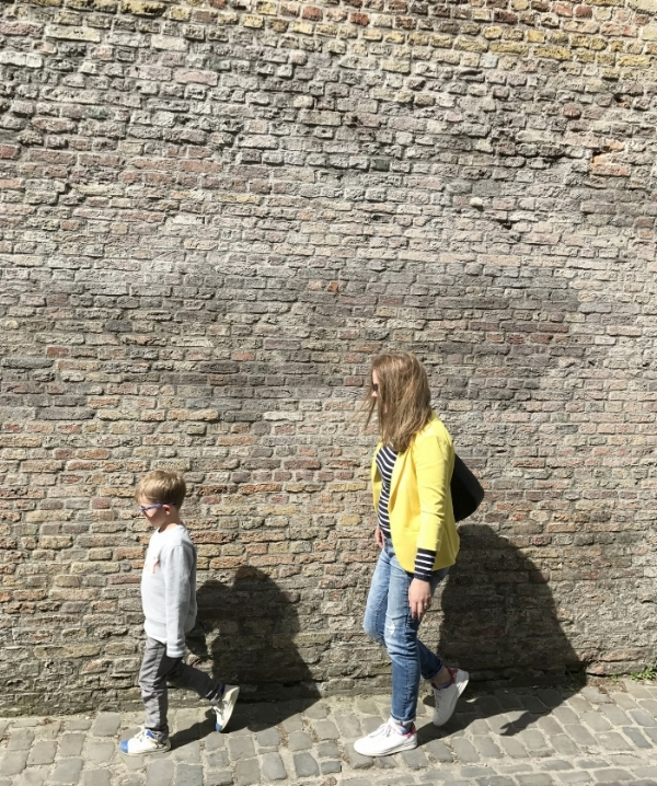 Jules and Louis Blog - Yellow On A Sunny Day - son and mum strolling