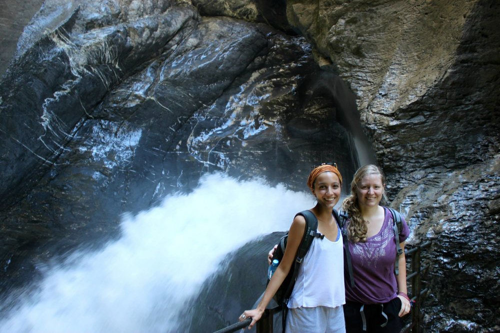 Me with my amazing Switzerland Couchsurfing host, Isabella, at the Trummelbach Falls  near Interlaken.