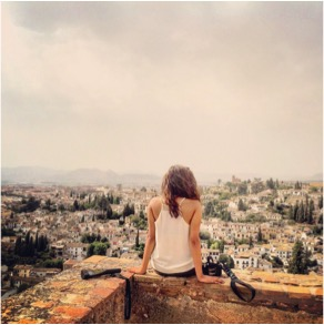 Overlooking Granada from the tops of the Alhambra Palace in Spain