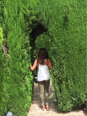 Walking through the Alhambra Gardens.
