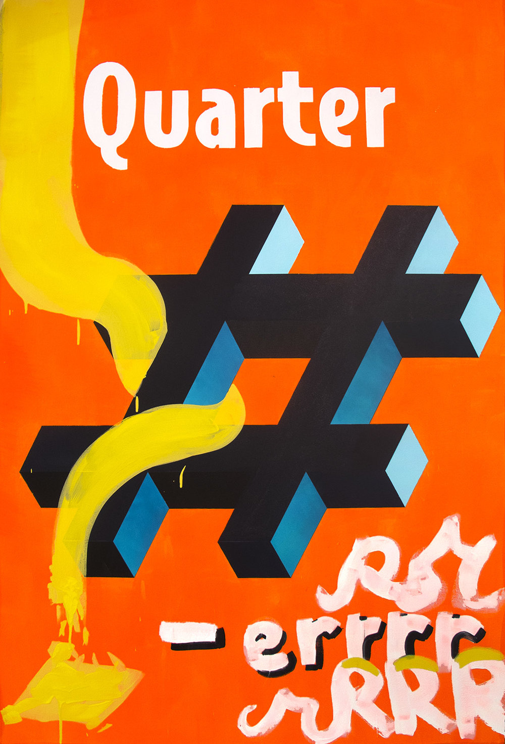 """Quarter Pounder (with cheese)  Acrylic on Canvas 60"""" x 40"""" 2015"""