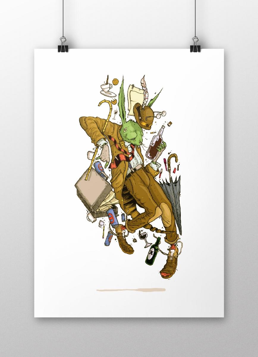 FOLLOW THAT RABBIT |A3 PRINT    MATT FINISH ON 330G PAPER    SIGNED BY ARTIST    LTD RUN